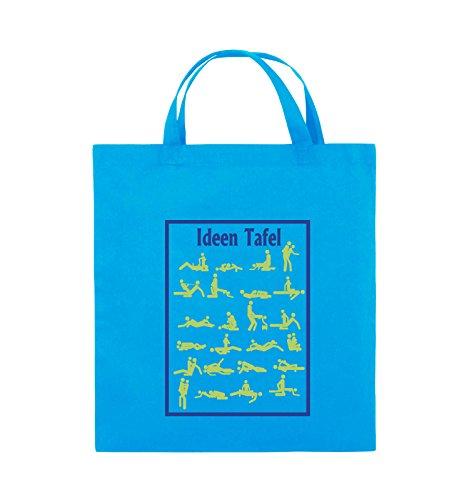 Comedy Bags - Ideen Tafel - SEXSTELLUNG - Jutebeutel - kurze Henkel - 38x42cm - Farbe: Schwarz / Weiss-Neongrün Hellblau / Hellgrün-Royalblau