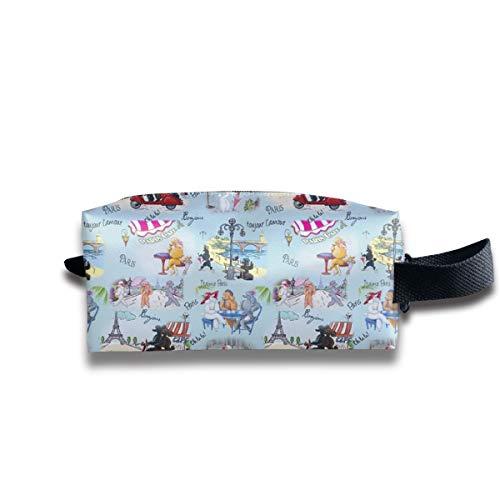 Pudel Hund Paris Collage_8 Tragbare Reise Make-up Kosmetiktaschen Organizer Multifunktions Tasche Taschen für Unisex Bcbg Paris