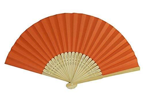 Rangebow PHF01 Orange 10 Commerce de gros de Papier main Fan Élégant bambou cadeau mariage faveur de la cage thoracique