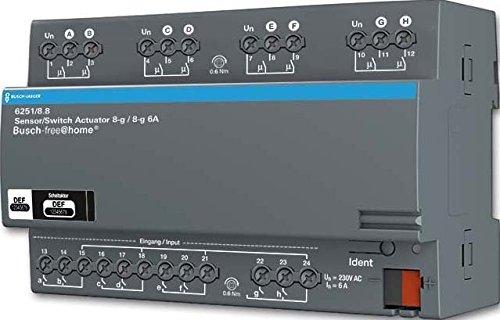 Busch-Jaeger Sensor/Schaltaktor 6251/8.8 8/8-fach REG-Aktor Busch-free@home Bussystem-Kombi I/O Gerät 4011395180396