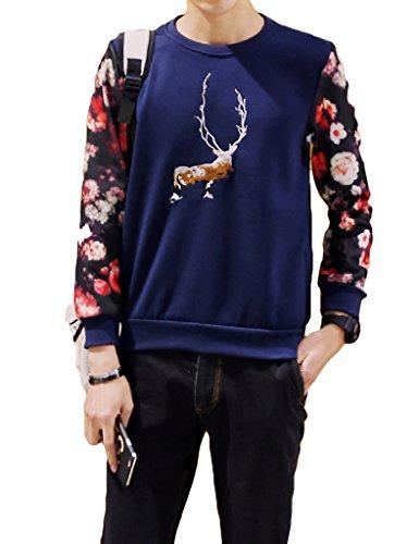 Legou Herren VINTAGE Langarm Printed Baumwolle T-Shirt Dunkel Blau1