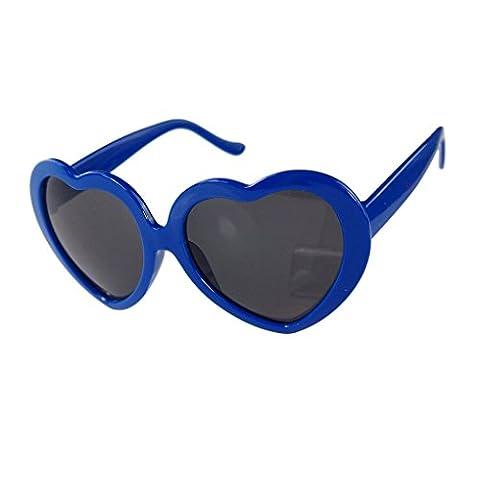 LUFA L'amour en forme de coeur mignon design Lunettes de soleil unisexe Bleu marin