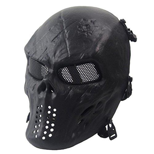 Zolimx Volles Gesicht Schädel Skelett Halloween Maske, Airsoft Paintball Taktisches Militär Halloween (Schwarz)