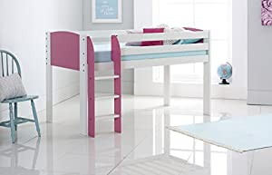 Scallywag Kids Cabin Bed 3FT Wide Shorty - White/Pink - Straight Ladder - Made In The UK.