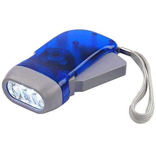 DIGIFLEX Batterielose Solar LED Taschenlampe mit Dynamo und 3 LEDs für Camping uto, Garage, Notfall, Stromausfall, - Tasche Größe -Blau - ideal für Kinder
