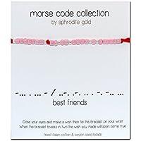 Best Friends Morse Code Red-Bracciale Braccialetto in corda - Emerald Jade Bracciale