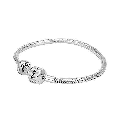 Tinysand - braccialetto in argento sterling 925, cordoncino a maglia di serpente, con fermaglio, adatto a charm di tipo pandora