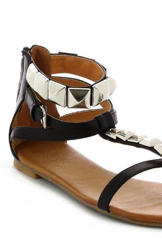 Sandales entre-doigts cloutées Noir