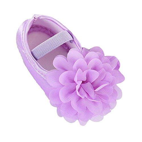 Sannysis Kleinkind Kinder Prinzessin Mädchen Chiffon Blumen Band-Neugeborene Gehende Schuhe Schläppchen Tanzschuhe Weich Spitzenschuhe Trainings Gymnastikschuhe (11, Lila)