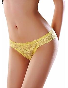 Las mujeres Sexy Bragas Butterfly Lace Briefs braguitas señoras lencería calzoncillos,amarillo