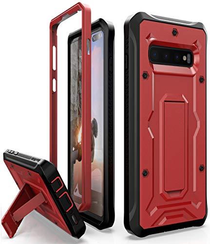 ArmadilloTek Schutzhülle für Galaxy S10+ Plus (strapazierfähig, Militärqualität, mit Standfunktion), rot/schwarz