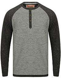 Tokyo Laundry - T-Shirt à manches longues - Chemise - Col Tunisien - Homme