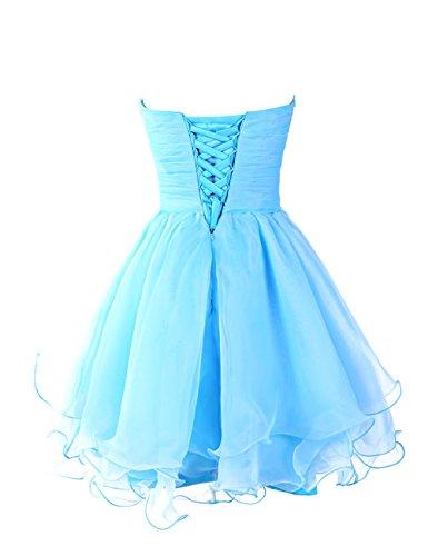 Dressystar Robe femme, Robe de bal perlée courte à Col en Cœur, Sans Bretelles,en Tulle Turquoise