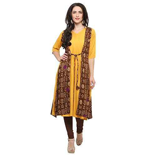 Ecolors Fab Women's Solid long length anarkali party wear Cotton Rayon kurtis...