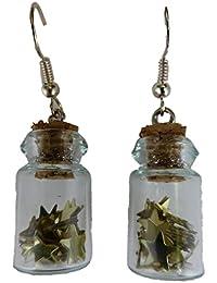 Ohrringe Hänger Flasche Fläschen Glas Glasflasche Blume Glitter Glitzer Perle