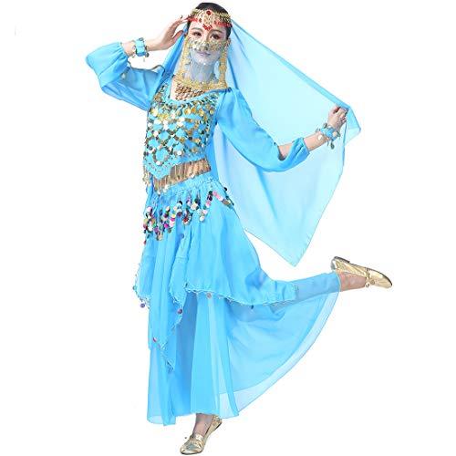 Lyrischen Kostüm Dance Modern - Magogo Bauchtanz-Kostüm-Karnevalsparty-Abendkleid-Set, professionelles Leistungs-Outfit (Hellblau(8-stück Kit))