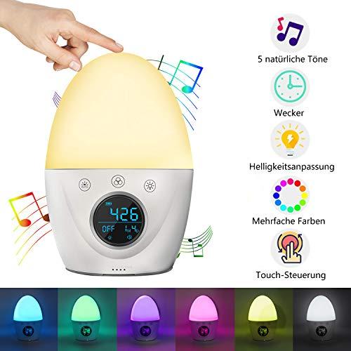 RegeMoudal Nachtlicht Wecker für Kinder und Erwachsene, Nachtlichtuhr 5 Farben Stimmungsatmosphäre Lampe mit 5 Naturgeräuschen, 3 Modusalarmen, Touch Control-Funktion und langer Standby Zeit