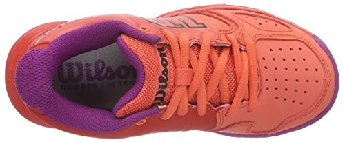 Wilson Kaos Comp Jr Radiant.R/Coral Punc/P, Chaussures de Tennis Mixte Enfant Rouge (Radiant Red/black/radiant Red)