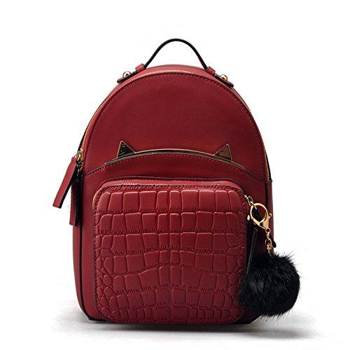 Mefly Rucksack Tasche Leder Handtaschen Mode Trend Claret