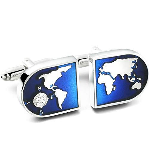 Milacolato Gioiello da Uomo Mappa del Mondo Camicie Gemelli, Matrimonio, Presente di San Valentino, Colore Blu Argento, 1 Set Coppia