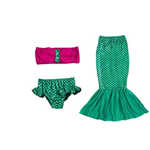 Ake Little Traje de sirena Children Kids Girls Bikini 3PCS Bathing Swimsuit Beach Swimwear-Green