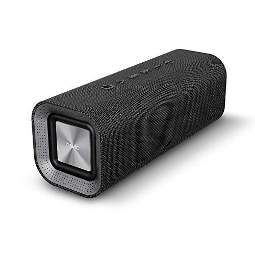HAVIT V4.2 Enceinte Bluetooth Portable Puissante Speaker, Haut Parleur Bluetooth avec 14 heures de jeu et plus de 10M sans fil gamme, Batterie 2200mAh, Support Appel Mains-libres et Entrée audio pour Bluetooth, Entrée filaire, Carte TF - Compatible avec les Appareils Bluetooth(Noir)