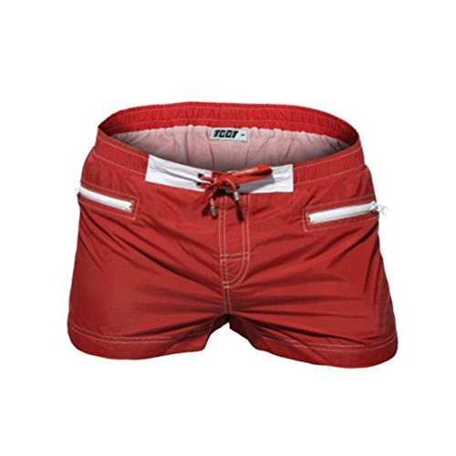 Men's Causal Low Elastic Waist Zipper 3 Pockets Solid Fitness Shorts red