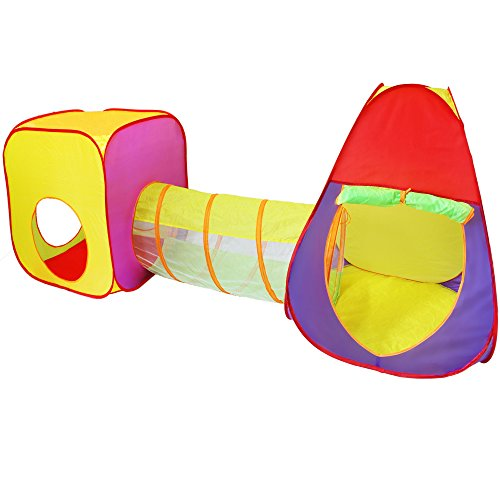 KIDUKU® Tenda a dado per bambini Pop Up con tunnel + borsa per interni ed esterni