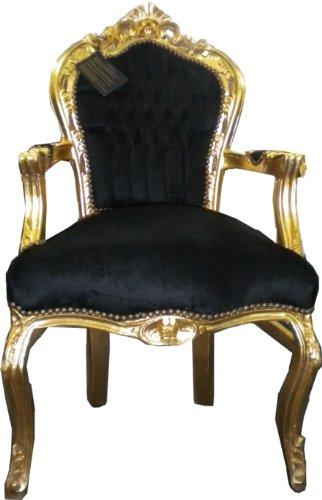 Barock Esszimmer Stuhl mit Armlehnen Schwarz/Gold Ludwig XIV Stuhl Wohnung Wohnen Rokoko Jugendstil...