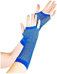 Gants Longs Résille Bleu électrique (Long Fishnet Gloves Electric Blue)