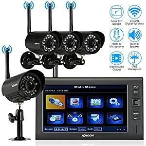 KKmoon Überwachungskamera Set mit Monitor Wireless 7 Zoll TFT Digital LCD Display Monitor 4-Kanal-Quad DVR + 4 IR-Nachtsicht-wasserdichte Kamera-Unterstützung AV-Ausgang Sprachüberwachung Bewegungserk (Wireless Kamera überwachung Dvr)