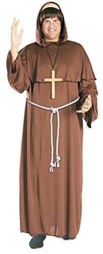Friar Tuck Mönch Kostüm. Erwachsene Größe Extra Large. Brustumfang 42-46. Perücke, Kleid und ()