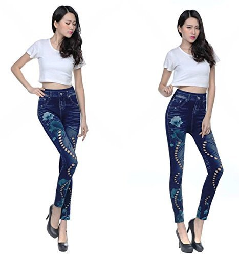 Vbirds Most stunning and Hottest, amazing denim look hollow legging for the g...  available at amazon for Rs.399