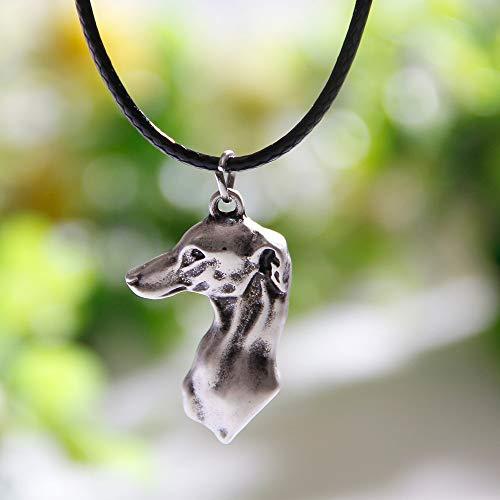 DADATU Halsketten für Herren 1pcs Greyhound Kopf Halskette Hund Anhänger Whippet Italienischen Halsketten & Anhänger Silber Halskette Charms Frauen -