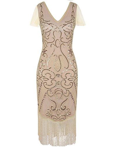 kayamiya Damen Vintage Gatsby Kleid 1920er V-Ausschnitt Inspiriert Pailletten Franse Charleston Kleid S Champagner