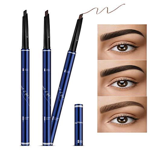 Augenbrauenstift Brauenpuder mit Bürste 3 Stück,  3 Farben Automatische Versenkbare Langanhaltende Wasserdichte Schweißfeste Rinziehbarer Stift für Make-up -