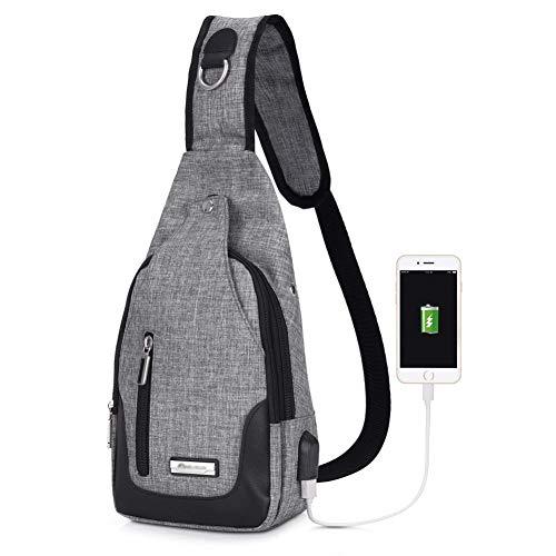 Brusttasche Sling Rucksack Umhängetasche,JuguHoovi Schulter-Umhängetasche Rucksack mit USB Lade-Port Anti-Diebstahl für Herren/Damen, Unisex, Schulter-Umhängetasche, Rucksack für ()