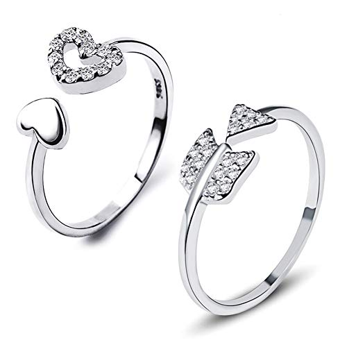 Gilind 925 Sterling Silver Ring Set, heart and arrow designs, with zircons, adjustable engagement rings, unisex, 2 units