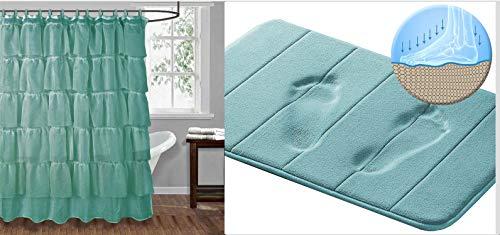 3 Peaks Gypsy Duschvorhang, gerüscht, mit Memory-Schaum, Blaugrün - Grau Duschvorhang Mit Rüschen