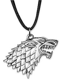 Game of Thrones Halskette mit Stark Logo, silberfarben, Kette aus Leder in Braun