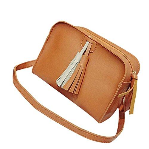 Regalo di festival, Reasoncool Donne nappe di modo del cuoio borsa di Crossbody Shoulder Bag Coin Zero Messenger Marrone