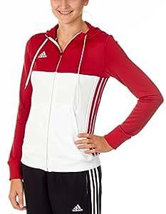 Adidas felpa con cappuccio T16Team, Donna, T16 Team, rosso/bianco, S