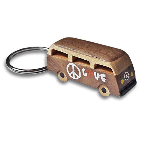 OOTB Llavero de Madera VW Bus - Llavero Vendido Individualmente - Volkswagen, Furgoneta Hippie, Paz, Amor, Auto, Caravana
