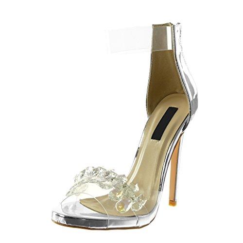 Angkorly scarpe moda decollete con tacco sandali stiletto con cinturino alla caviglia peep-toe donna strass gioielli trasparente tacco stiletto alto 13 cm - argento b7788 t 36