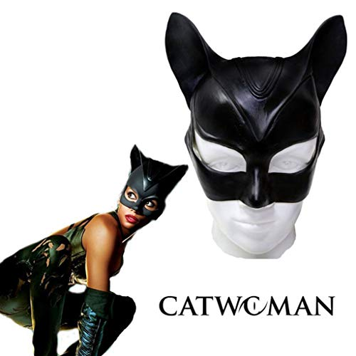 Up Dress Catwoman Kostüm - Halloween Party Maske, Maske Catwoman Kostüm für Damen Halloween Kostüm Party Half Face mit Latex Katzenohren