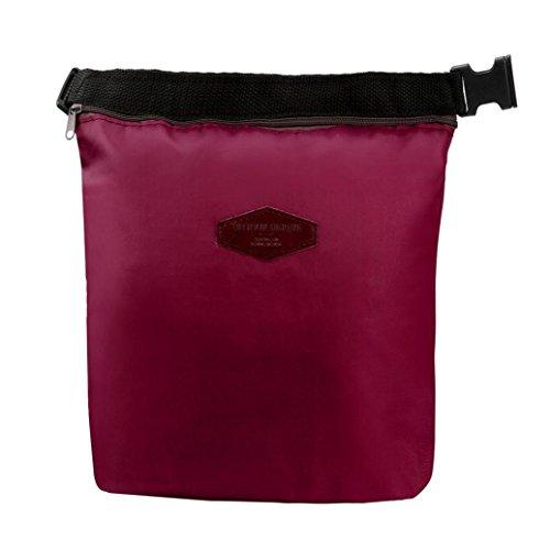 Y56 Lunchbox/Lunchbox, Wiederverwendbare Tote Isolierung Paket Tragbare Wasserdichte Thermoisolierte Nylon Lunchbox/Kühltasche/Kühltasche/Kühltasche, 28 x 24 x 9 cm weinrot - Nylon-isolierung