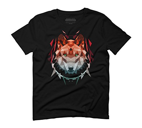 wolf red Men's Graphic T-Shirt - Design By Humans Black