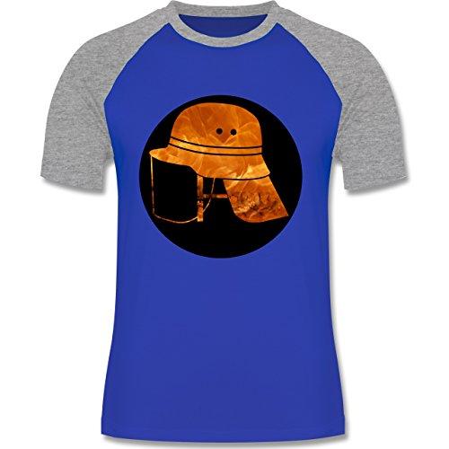 Feuerwehr - Feuerwehr Helm Flammen - zweifarbiges Baseballshirt für Männer  Royalblau/Grau meliert