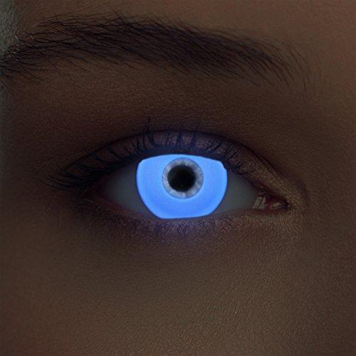 """Luminoso (debajo luz negra) UV lentillas de colores blanco relumbrar costume lentes sin dioprtías / corregir + gratis caso de lente """"Glowing White"""""""