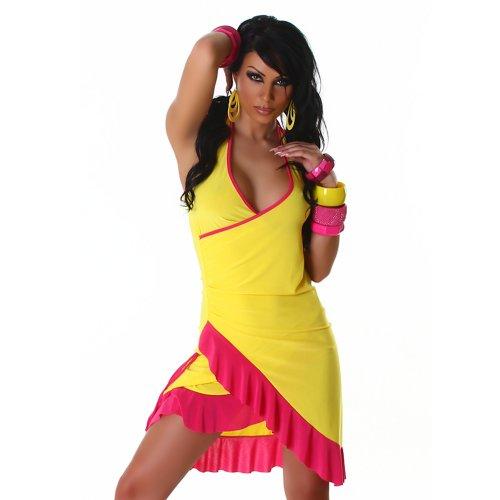 Jela London Unità Dress abito da cocktail da ballo con scollo a V bicolore colori correnti delle donne Rosa Giallo 36,38,40,42